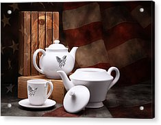 Patriotic Pottery Still Life Acrylic Print by Tom Mc Nemar