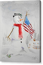 Patriotic Snowman Acrylic Print