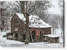 Patriotic Tobacco Barn Acrylic Print by Debbie Green
