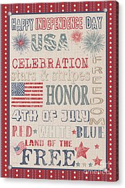 Patriotic Typography-b Acrylic Print by Jean Plout