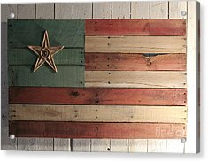Patriotic Wood Flag Acrylic Print by John Turek