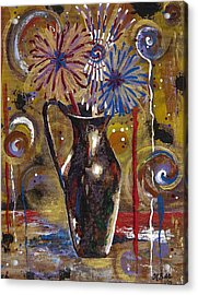 Acrylic Print featuring the painting Patriotism Blooms by Margaret Bobb