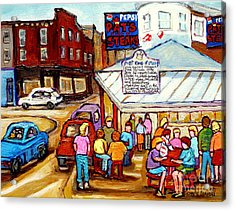 Pat's King Of Steaks Philadelphia Restaurant South Philly Italian Market Scenes Carole Spandau Acrylic Print by Carole Spandau