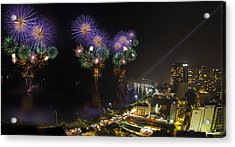 Pattaya Fire Work 2012 Festival Acrylic Print by Anek Suwannaphoom