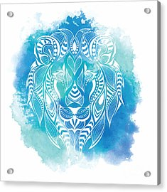 Patterned Colored Head Of The Lion Acrylic Print