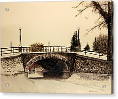 Acrylic Print featuring the painting Patterson Creek Bridge by Betty-Anne McDonald