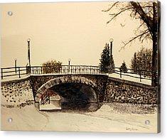 Patterson Creek Bridge In Winter Acrylic Print by Betty-Anne McDonald