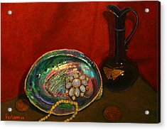 Paua And Butterfly Vase Acrylic Print by Terry Perham
