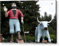 Paul Bunyan And His Blue Ox In Klamath Acrylic Print