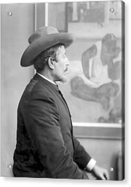 Paul Gauguin 1848-1903 In Front Of His Canvases, C.1893 Bw Photo Acrylic Print by French Photographer