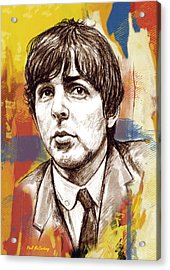 Paul Mccartny Stylised Pop Art Drawing Potrait Poser Acrylic Print