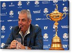 Paul Mcginley Press Conference - 2014 Ryder Cup Acrylic Print by Mike Ehrmann