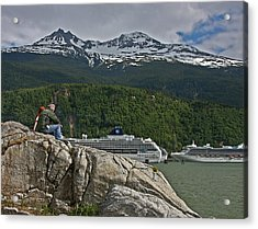 Pause In Wonder At Cruise Ships In Alaska Acrylic Print by John Haldane