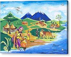 Acrylic Print featuring the painting Paysage Du Nord Du Rwanda by Emmanuel Baliyanga