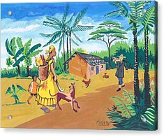 Acrylic Print featuring the painting Paysage Du Sud Du Cameroon by Emmanuel Baliyanga