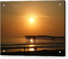 Pb Sunset Over The Pier Acrylic Print