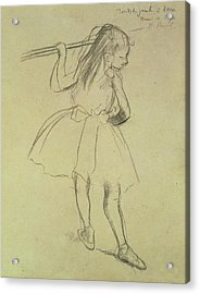 Girl Dancer At The Barre Acrylic Print by Edgar Degas