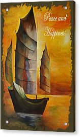 Peace And Happiness Christmas Greetings Acrylic Print by Tracey Harrington-Simpson