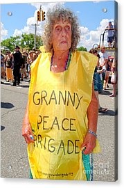 Acrylic Print featuring the photograph Peace Granny by Ed Weidman