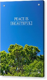 Peace Is Beautiful Acrylic Print by Liesl Marelli