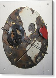 Peace Love And Earth Recycled Sculpture Acrylic Print by Robert Blackwell