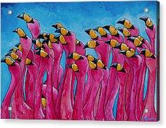 Peace Love And Flamingos Acrylic Print by Patti Schermerhorn