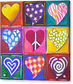 Peace Love And Heart Art Acrylic Print