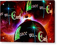 Acrylic Print featuring the photograph Antique Peace On Earth Christmas Ornaments by Vizual Studio