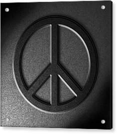 Acrylic Print featuring the digital art Peace Sign Stone Texture by The Learning Curve Photography