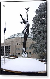 Peace Statue In Winter Acrylic Print