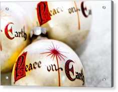 Acrylic Print featuring the photograph Antique Peace On Earth Christmas Decorations by Vizual Studio