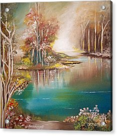 Acrylic Print featuring the painting Peaceful Bayou by Nereida Rodriguez