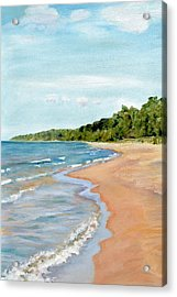 Peaceful Beach At Pier Cove Acrylic Print by Michelle Calkins