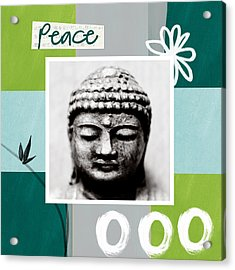 Peaceful Buddha- Zen Art Acrylic Print by Linda Woods