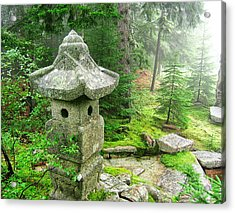 Peaceful Japanese Garden On Mount Desert Island Acrylic Print by Edward Fielding