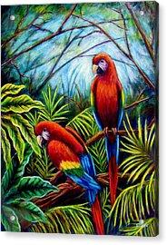 Peaceful Parrots Acrylic Print by Sebastian Pierre