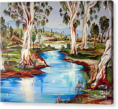 Peaceful River In The Australian Outback Acrylic Print by Roberto Gagliardi