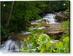 Peaceful Stockbridge Falls  Acrylic Print by Dave Files
