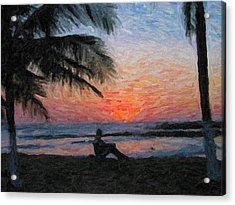 Peaceful Sunset Acrylic Print by David Gleeson