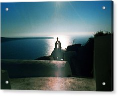Acrylic Print featuring the photograph Peaceful Sunset Santorini Island Greece by Colette V Hera  Guggenheim