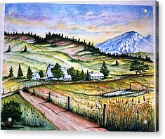 Acrylic Print featuring the painting Peaceful Valley Farm by Richard Benson