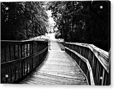 Peaceful Walkway Blackwhite Acrylic Print by Stephanie Grooms