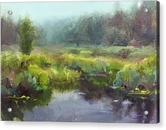 Peaceful Waters Impressionistic Landscape  Acrylic Print