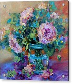 Peach Bloomers Peonies Acrylic Print