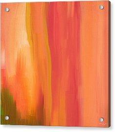 Peach Floral Acrylic Print by Lourry Legarde