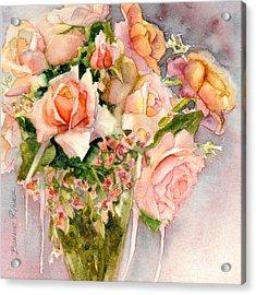 Peach Roses In Vase Acrylic Print