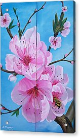 Peach Tree In Bloom Diptych Acrylic Print by Sharon Duguay