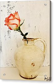 Peach Trim Rose In Pottery Acrylic Print by Marsha Heiken