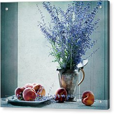 Peaches And Blues Acrylic Print by Maggie Terlecki