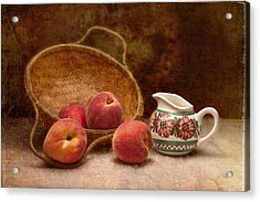 Peaches And Cream Still Life II Acrylic Print by Tom Mc Nemar